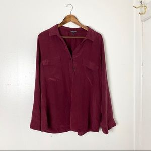 Eileen Fisher Silk Long Sleeve Top Large